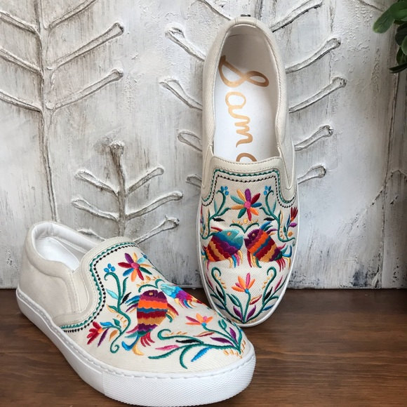 Sam Edelman Colorful Embroidered Canvas
